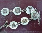Vintage Parisian Memento Mother of Pearl PARIS Monuments Souvenir Bracelet