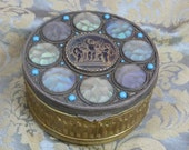 1900s French Ormolu Musical Cherubs Iridescent Aqua Blue and Opaline Art Glass Jeweled Box