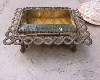 1900s Chunky Beveled Glass Jewelry Casket Trinket Box Silver Plate