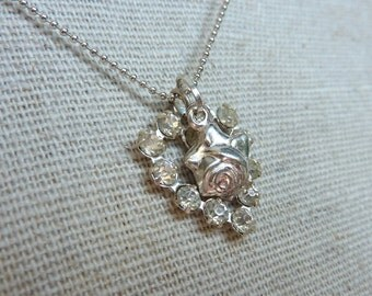 Vintage Sterling French Blue Enameled Rose Saint Theresa and Paste Heart Necklace