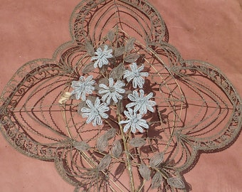 Early 1900s PARIS Beaded Floral Wreath Opaline White Daisys and Shades of Gray