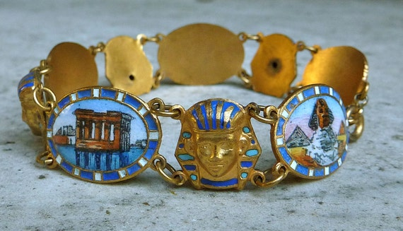 Reserved for daranach 1920s Enameled Egyptian Revival King Tut Picture Bracelet