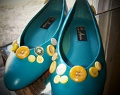 the Isla wedges. Vintage turquoise, mini-wedges, upcycled with retro buttons, vegan friendly