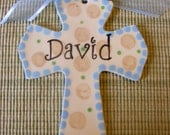 Personalized or Monogrammed Handpainted Ceramic Cross in Blue, Khaki, and Green with Your name or Monogram Makes a Great Baptism Gift