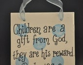 Bible Verse Ceramic Wall Hanging in Blue Polka Dot Makes a Great Baby Gift or Christening Gift