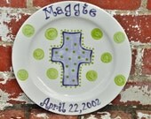 Personalized Cross Plate in Your Choice of Name and Color in Purple and Green  Makes Great Children's Birthday Gift