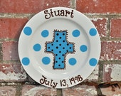 Personalized Cross Plate in Your Choice of Name and Color in Blue and Brown  Makes Great Children's Birthday Gift
