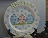 Personalized Happy Easter Plate with Easter Eggs and Polka Dots With Your Children's Names and Your Family Name at the Bottom of the Plate