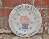 Personalized Happy Birthday Cupcake Plate in Your Choice of Name and Color in Pinks and Purples Makes Great Children's Birthday Gift