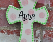 Personalized Ceramic Cross in Pink and Green that Comes in Your Color Choice Great for Baptism and Christening Gifts