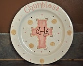 Personalized Baby Girl Cross Plate with Name and Monogram in Pink and Brown or Your Color Choice