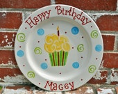 Personalized Cupcake Birthday Plate in Red, Blue, Green and Yellow in your Color Choice Makes Great Birthday Gift for Boy or Girl