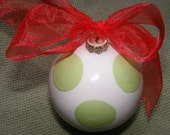 Personalized Polkadot  Christmas Ornament That Comes With Any Name, Family Name, or Monogram