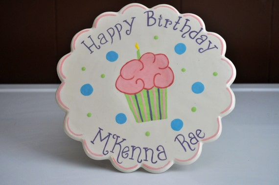 Personalized Cupcake Cake Stand with Happy Birthday and Your Choice of Name and Colors in Pink, Purple, Blue and Green