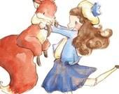 A Girl and Her Fox. PRINT. 8X10. Nursery Art Wall Decor