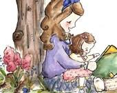Little Girls Together. PRINT 5X7. Nursery Art Wall Decor