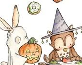 Halloween Party. PRINT 8X10. Nursery Art Home Decor