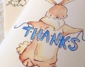 Bunny Says Thanks. Greeting Card with Creamy Envelope.