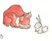 Children Art Print. Curious Baby Animals. PRINT 5X7. Nursery Art Home Decor