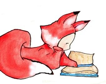 Scarlet Foxy Reading. PRINT. 8X10. Nursery Art Wall Decor