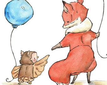 Fox and Owl go Walking. PRINT. 8X10. Nursery Art Wall Decor