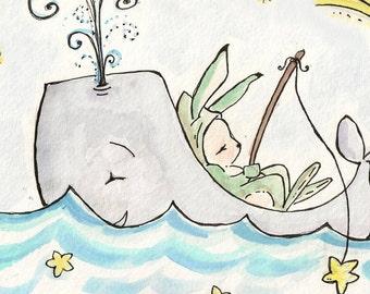 Star Fishing at Sea. PRINT. 8X10. Nursery Art Wall Decor