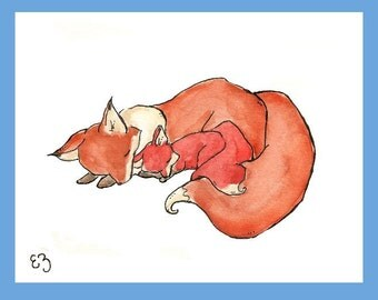 My Baby Fox. PRINT 8X10. Nursery Art Wall Decor