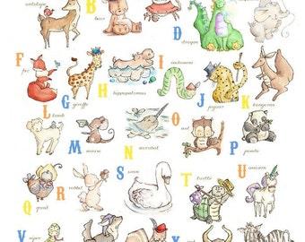 BOYS Alphabet Chart from A to Z. PRINT 8X10. Nursery Art Home Decor