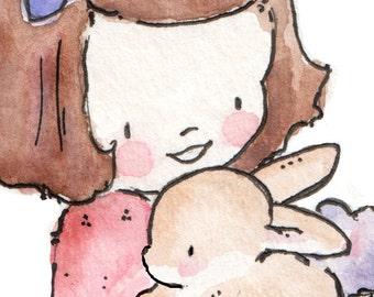 Children Art Print. My Own Little Bunny-PINK. PRINT 8X10. Nursery Art Home Decor