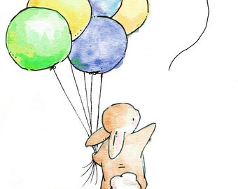 Children Art Print. BOYS Goodbye Balloon. PRINT 8X10. Nursery Art Home Decor