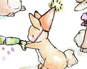 Children Art Print. BUNNY PARTY. Print 8X10. Nursery Art Home Decor