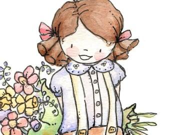 Children Art Print. Flowers for You. PRINT 8X10. Nursery Art Home Decor