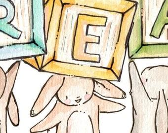 "Children Art Print. Vintage ""READ"" Blocks. Print 8X10. Nursery Art Home Decor"