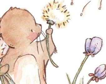 Children Art Print. Mouse Wishing. PRINT 8X10. Nursery Art Home Decor