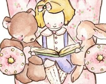 Children Art Print. The Pink Chair-BLONDE. PRINT 8X10. Nursery Art Home Decor
