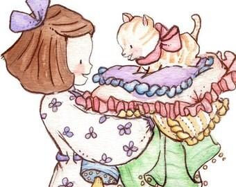 Children Art Print. Putting Kitty To Bed. PRINT 8X10. Nursery Art Home Decor