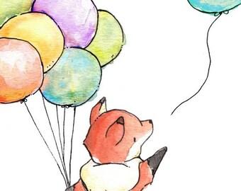 Children Art Print. Fox Says Goodbye. PRINT 8X10. Nursery Art Home Decor