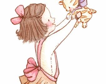 Children Art Print. Kitty Girl. PRINT 8X10. Nursery Art Home Decor