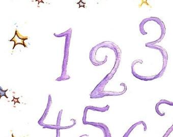 Children Art Print. HANDPAINTED-STARS Number Chart. Print 8X10. Nursery Art Home Decor