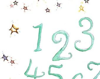 Children Art. HANDPAINTED- STARS Number Chart in SeaFoam. Print 8X10 Nursery Art Home Decor