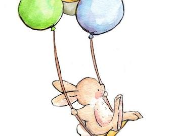Children Art. The Balloon Swing-BOYS. PRINT 8X10. Nursery Art Home Decor