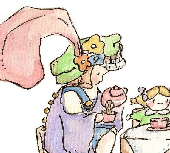 The Tea Party. PRINT. 8X10. Nursery Art Wall Decor