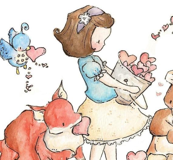 Gathering Love. Print 8X10. Nursery Art Wall Decor