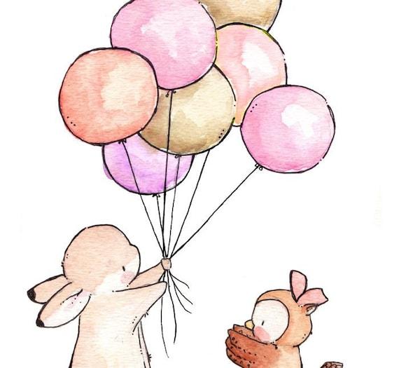 Children Art Print. GIRLS Bunny and Owl. Print 8X10 Nursery Art Home Decor