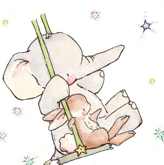 Children Art Print. Bunny and Elephant Swing for the Stars. PRINT 8X10. Nursery Art Home Decor