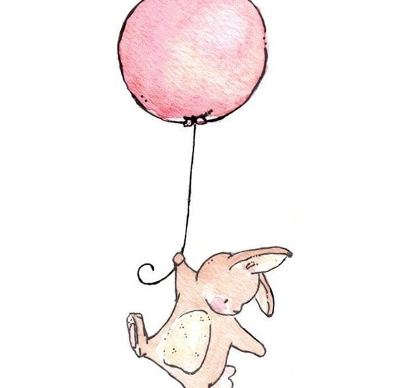 Children Art Print. Bunny Balloon. PRINT 8X10. Nursery Art Home Decor