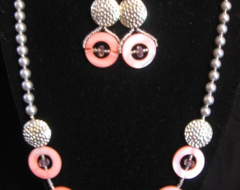 Pink Shell and Pearl necklace and earring set