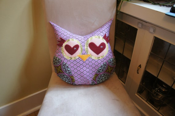 Large Lucky Owl Decorative Pillow - purple - Ready to ship