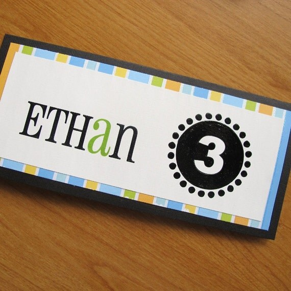 Personalized, Kids, Adults, Name, Age, Modern, Cute, Polka Dots, Boy, Birthday, Card