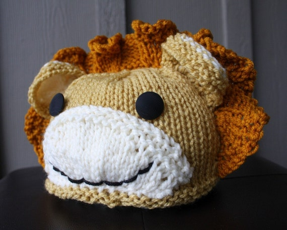 Animal Hat Knitting Patterns : Knitting Pattern Baby Lion Animal Hat PDF by createry on Etsy